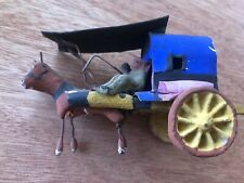 Antique Mexican Folk Art Clay Pottery Horse And Cart 1930's
