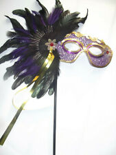MASQUERADE FANCY DRESS LADIES PURPLE FEATHER STICK MASK FOR GLASSES WEARERS