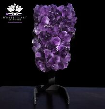 """14.5"""" Amethyst Crystal Geode Plate & Cast Iron Stand - 14.5 Lbs - FREE SHIPPING"""