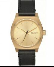 NIB Nixon Medium Time Teller Leather Watch Gold Black A1172-513 Womens 31mm