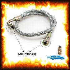 "24"" AN4 Acier Inoxydable Tressé OIL FEED Line Kit T3/T4 turbocompresseur Bride"