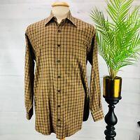 Robert Talbott Mens Long Sleeve Check Button Down Shirt Gold Blue  Brown Size M