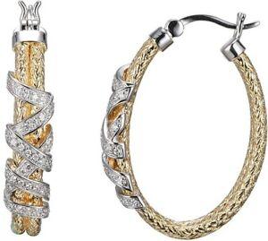 Charles Garnier Sterling Silver Double 2mm Mesh Hoop Earrings with CZ Wrap