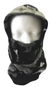 Men's Tek Gear Gray Camo Warmth Fleece Ski Mask Head Face Scarf Hood Snowboard