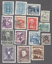 AUSTRIA - FIFTEEN DIFFERENT USED STAMPS