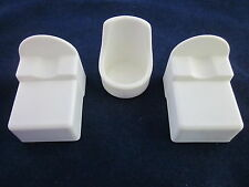 GENERAL MILLS KENNER Tree Tots 3 White Pieces - 2 Beds 561B041 & 1 Chair 561B044
