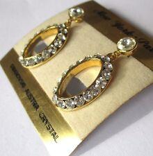 boucles d'oreilles percées bijou couleur or ajourées cristaux swarovski 174