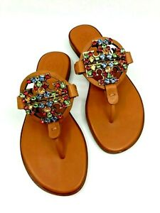 Tory Burch NEW Miller Multicolor Crystal Logo Camel Leather Sandal Many Sizes