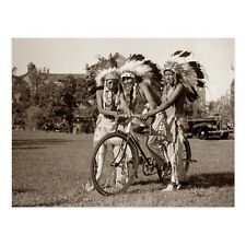 """~Post Card~""""3 Native American-Indian Boys"""" on Bicycle/  (C11)"""