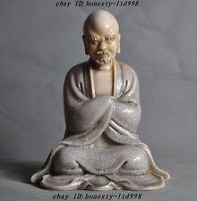 "8""China Buddhism Old porcelain glaze Damo Bodhidharma Arhat Dharma Buddha Statue"