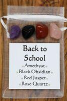 Back to School Crystal Gift Set Red Jasper Amethyst Rose Quartz Black Obsidian