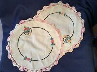 Vintage Cotton  Doilies with Embroidered Flowers & Pink  Crocheted Edge Set of 2