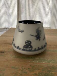 "RARE Yankee Candle 4.5"" Jar Shade Halloween Silver White Flicker Haunted House"