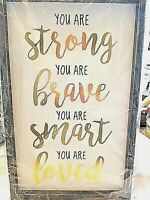 """Wood Sign """"You are Strong You are Brave"""" Wooden Rustic Home Decor Farmhouse"""