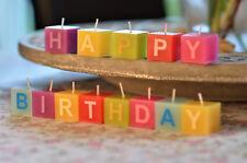 """Geburtstagskerzen """"HAPPY BIRTHDAY"""" Farbige Kerzen mit Einzel-Buchstaben Schrift"""