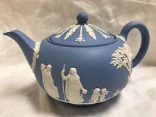 Vintage Light Blue Wedgwood Jasperware Teapot  MADE IN ENGLAND