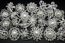 Lot 24pc Mixed Alloy Sliver Pearl Rhinestone Crystal Brooches Pins DIY Bouquet