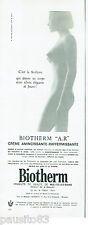PUBLICITE ADVERTISING 115  1966   créme cosmétiques BIOTHERM  seins nus
