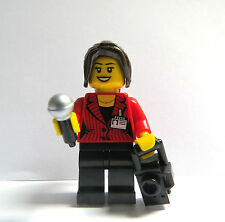 Lego Female Reporter Press Photographer Minifigure Figure Microphone & Camera