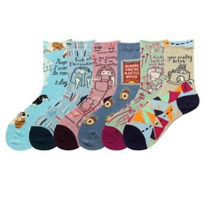 Ladys Womens Cotton Crew Socks Warm Funny Cartoon Novelty Dress Work Socks 6-9