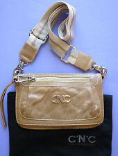 CNC COSTUME NATIONAL TAN LEATHER FLAP CLUTCH/MESSENGER  BAG