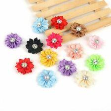 Hot 15pcs 4cm Small Fabric Satin Flowers Appliques Sewing Wedding Bag Home Decor