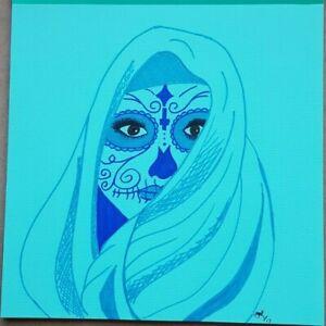 Original hand drawn Art sketch drawing custom - Day of the Dead Sugar Skull Woma