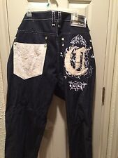 Urban Fab Mens Sz 40 Coogi If Luxe Could Kill Jeans Detailed, Leath Embroidery👖