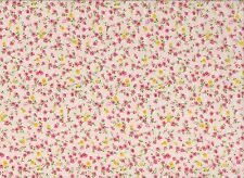 Apricot / Pink Floral Printed Polycotton Fabric (128cm wide)