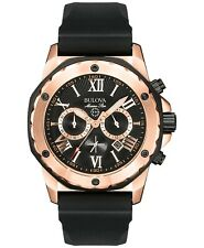 Bulova Marine Star Quartz Chronograph Black Dial Rubber Strap Men's Watch 98B104