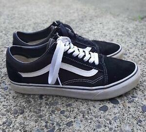 Vans Mens 7 Womens 8.5 Black White Canvas Suede Lace up Sneakers Old Skool