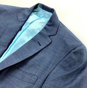 Oxxford Clothes Men's Wool 2-Button Jacket Blazer Navy Blue Plaid • 38 S