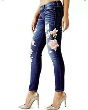 Guess Women's Power Skinny Low Rise Skinny Jeans With Flowers & Destroy Size 25
