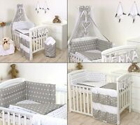 GREY STARS BABY BEDDING SET COT COT BED 3,5,9 Pieces COVER BUMPER CANOPY+more