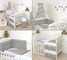 Grey Stars Baby Bedding Set Cot Bed 3 5 9 Pieces Cover Per