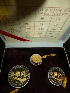 Goldmünzen China Panda 1995 Bi-Metall Gold Silber Satz # 10 25 50 Yuan # Zertifi