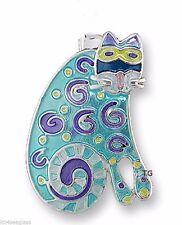 Zarah Zarlite Curlicue Cat CHARM Silver Plated Enamel Jump Ring - Gift Wrap Box