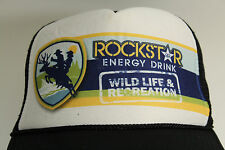 ROCKSTAR ENERGY DRINK  Ball Cap White With 4 Color Logo Trucker Mesh Snap RARE