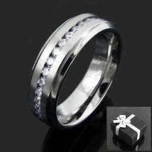 Titanium Men's 1.08 Carat CZ Eternity Wedding Band Ring Size 9-13