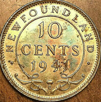 1941 NEWFOUNDLAND SILVER 10 CENTS COIN - Fantastic toned example!