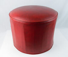 "Vintage Red Mid Century Round Drum Shaped Ottoman Footstool 18"" Diameter Octagon"
