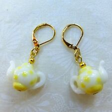 Yellow White Teapot Lamp Glass Beads w Gold-plated Lever back Dangle Earrings
