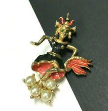 Vintage SIAM Niello DANCER Brooch Pearl Rhinestone Enamel Gold PL Figural UU25e
