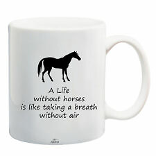 Juko Horse Rider Mug Quote A Life Without Horses Coffee Tea Cup