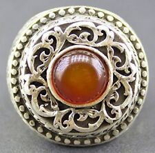 Sterling silver men ring handmade, Steel pen craft handmade, natural red agate