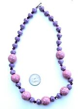 "Purple Glass & Pink Ceramic Bead 19"" Necklace"