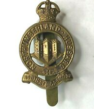 WW1 Northumberland Hussars all brass cap badge  Repaired Slider