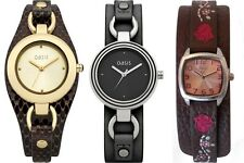 Brown & Black Leather Cuff Strap Ladies / Girls Watch by Oasis and A'mor Bargain