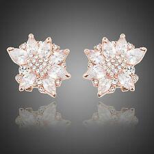 Rose Gold Bridal Stud Earrings Cubic Zirconia CZ Wedding Vintage Rose Earrings