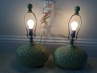 Pair Vintage Ceramic Oval Table Lamps Oblong Retro Crinkle Texture 3 Way Lamps